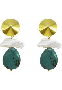 Brinco Pedras Naturais Turquesa Pérola Nativa Banhado A Ouro 18K La Madame Co