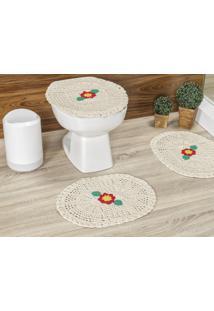 Jogo De Banheiro Vilela Enxovais Crochê Flora 3 Pçs Cru