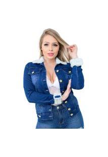 Jaqueta Jeans Destmoda Pelinho Tendência Azul