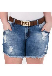 Shorts Confidencial Extra Plus Size Jeans Feminino Feminino - Feminino-Azul Claro