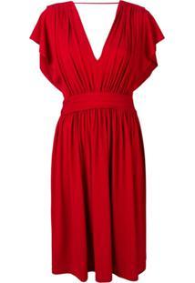 Alberta Ferretti Flared Cocktail Dress - Vermelho