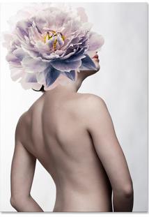 Quadro 60X90Cm Canvas Valentina Mulher Com Flor Branca Nórdico
