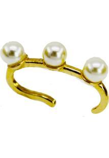 Brinco La Madame Co Piercing Três Pérolas Dourado - Kanui