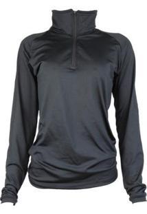 Camisa Térmica Feminina Segunda Pele Meio Zíper Thermo Premium - Feminino-Preto