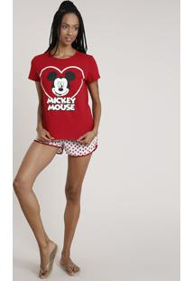 Pijama Feminino Mickey Manga Curta Vermelho Escuro