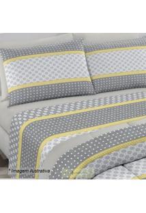 Edredom Royal Plus Casal- Cinza & Amarelo- 200X220Cmsantista