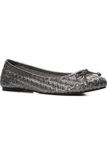 Sapatilha Couro Shoestock Laço Tressê Feminina - Feminino-Prata+Preto