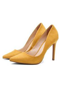 Scarpin Suede Feminino Salto Alto Bico Fino Casual Conforto Amarelo