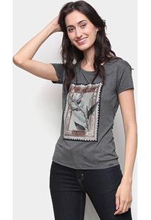 Camiseta Marialicia Básica Feminina - Feminino-Mescla Escuro