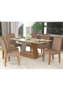 Conjunto De Mesa Alana 180X90Cm Com 6 Cadeiras Nicole - Cimol - Savana / Off White / Pluma