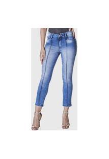 Calça Cropped Jeans Zuren Skinny Com Friso Azul