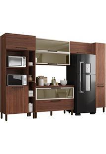 Cozinha Modulada Compacta 6 Peças Viv Concept C04 Nogueira - Kit´S Par