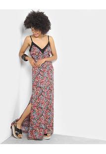 Vestido Handbook Longo Dara Estampado - Feminino-Vermelho+Laranja