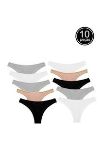 Kit 10 Calcinhas Conforto Part.B Cinza/Preto/Bege/Branco