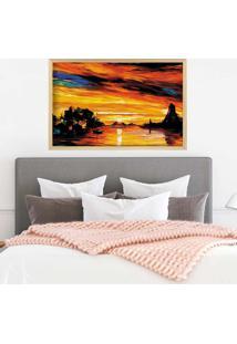 Quadro Love Decor Com Moldura Beau Paysage Madeira Clara Mã©Dio - Multicolorido - Dafiti