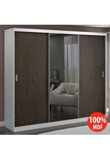 Guarda Roupa 3 Portas Com 1 Espelho 100% Mdf 7318E1 Branco/Málaga - Foscarini