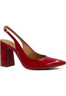 Sapato Cecconello Verniz Fivela Vermelho
