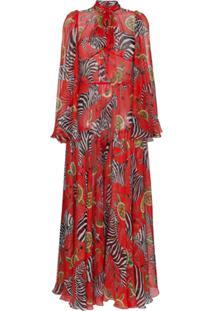 eb09458cd705f ... Dolce   Gabbana Vestido Maxi Estampado De Seda - Vermelho