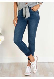 Calça Jeans Capri Cintura Alta Com Barra Dobrada