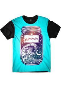 Camiseta Bsc Longline Pote Do Verão Sublimada Masculina - Masculino-Azul