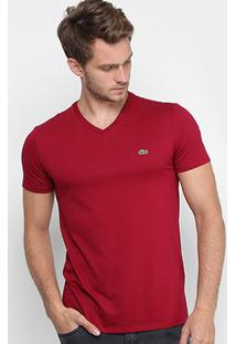 Camiseta Lacoste Gola V Regular Fit Masculina - Masculino-Bordô