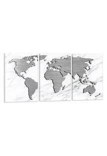 Quadro Oppen House Mapa Mundi Escovado Cinza 60X120Cm Decoraçáo Escritórios Salas Empresas
