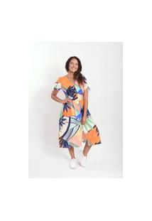 Vestido Mix Midi Laranja