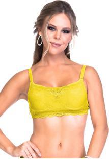 Sutiã Sempre Sensual Lingerie Top Renda Bojo Amarelo