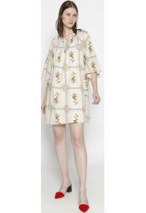 Vestido Floral Com Franzidos - Bege & Amareloosklen