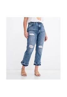 Calça Reta Jeans Lisa Com Puídos | Blue Steel | Azul | 36