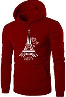 Blusa Moletom Vr Paris Feminina - Feminino-Vermelho Escuro