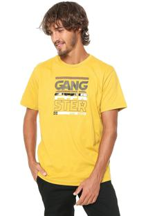 Camiseta Gangster Estampada Amarela