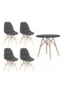 Conjunto 4 Cadeiras Eames Botonê Cinza + 1 Mesa Eames 80Cm Preta Base Madeira Cozinha Jantar