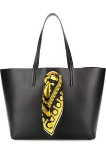 Versace Bolsa Tote De Couro - Preto