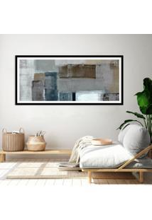 Quadro Com Moldura Chanfrada Abstrato Cinza E Bege 40X100 - Multicolorido - Dafiti