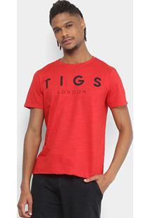 Camiseta Flamê Estampada Tigs Manga Curta Masculina - Masculino-Vermelho