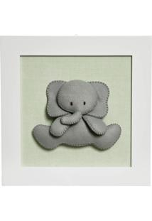 Quadro Decorativo Elefante Potinho De Mel Verde