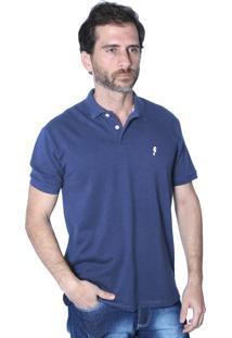 Camisa Polo Mister Fish Clássico Sea Horse Azul Marinho