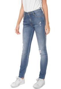 Calça Jeans Calvin Klein Jeans Skinny Destroyed Azul