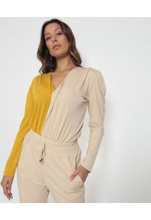 Body Com Recorte- Amarelo & Rose- Vinte4Por7Vinte4Por7