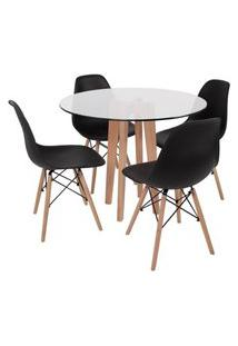 Conjunto Mesa De Jantar Em Vidro 90Cm Com Base Vértice + 4 Cadeiras Eiffel - Preto