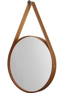 Espelho Redondo Com Moldura E Cinta De Couro 56Cm Mogno