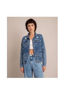 Jaqueta Jeans Destroyed Azul Médio