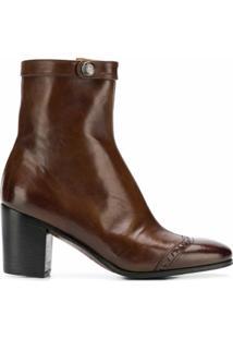 Alberto Fasciani Ankle Boot De Couro - Marrom