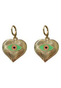 Brinco Narcizza Coração Olho Grego Verde - B551(Atl)V