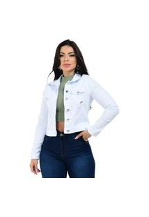Jaqueta Jeans Feminina Branca Com Laycra