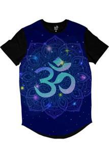 Camiseta Longline Long Beach Ohm Mandala Florida Sublimada - Masculino-Preto