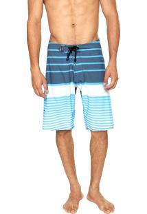 Bermuda Água Volcom Lido Slash Stripe Azul