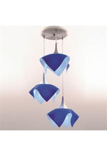 Pendente Tulipa Color Para 3 Lâmpadas Azul