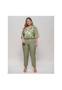Blusa Almaria Plus Size New Umbi Ombro Vazado Verde